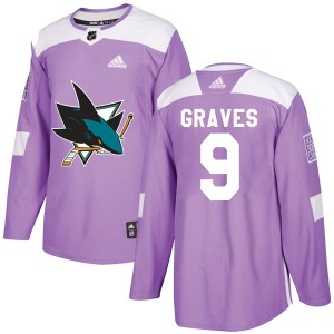 Adam Graves Men's Adidas San Jose Sharks Authentic Purple Hockey Fights Cancer Jersey