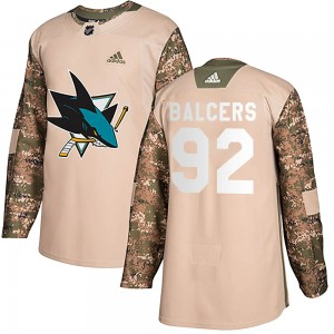 Rudolfs Balcers Youth Adidas San Jose Sharks Authentic Camo Veterans Day Practice Jersey